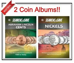 2 Whitman Search And Save For Cents And Nickels Coins Album Storage Collection New