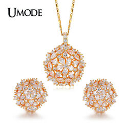 UMODE Brand Cluster Flower Design AAA+ CZ Wedding Jewelry Sets For Women Gold