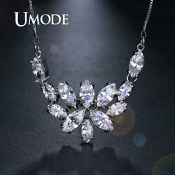 UMODE Wedding Bands Clear Cubic Zirconia Necklaces for Women Bridal Femme