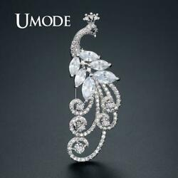 UMODE Luxury Phoenix Brooches for Women Cubic Zirconia Pins White Gold Wedding