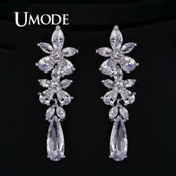 UMODE Luxury Wedding Drop Earrings for Women Clear Cubic Zirconia Engagement