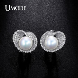 UMODE 10mm Simulated Pearl CZ Cubic Zirconia White Gold Color French Clip Stud