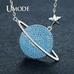 UMODE Blue Universe Space Pendants Necklaces for Women White Gold Chain