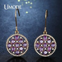 UMODE New Fashion Purple CZ Stones Crystal Drop Earrings for Women Gold Color