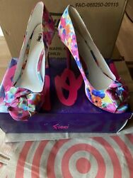 Preowned Womens Shoes Pink Floral Design Fiona Heels Size 8.5 $10.00