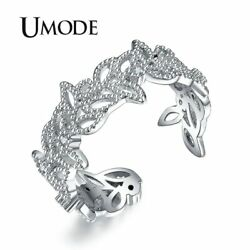 UMODE Brand Olive Leaf Rings for Women White Gold Color Top CZ Crystal Cocktail