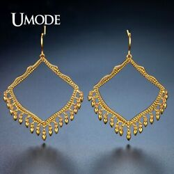UMODE Brand Design Big Hollow Rhombus Drop Earrings for Women Gold Color