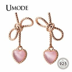 UMODE Pink Small Heart Sterling 925 Silver Drop Earrings for Women Bowknot Rope