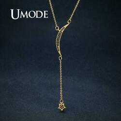 UMODE Gold Color Moon Star Pendants Necklaces for Women Femme Fashion Long Link
