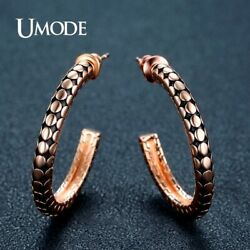 UMODE Brand Real Rose Gold Color Half Hoop Earrings for Women Fashion Jewelry