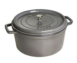 Nib Staub Cast Iron 13.25 Qt Dutch Oven French Oven Cocotte With Lid - Graphite
