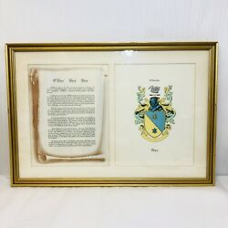 O'shea Shea Shee Family Crest Coat Of Arms Framed Under Glass With Name History