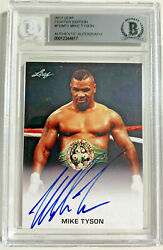 Mike Tyson Signed Leaf Trading Card Fe-mt1 Beckett Bas Slabbed Authentic Auto