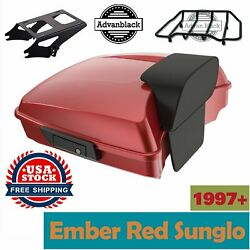 Advanblack Ember Red Sunglo Razor Tour Pack Trunk Luggage Fits 1997+ Harley
