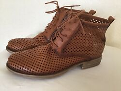 Eric Michael Leather Perforated Cut Out Lace Up Ankle Boots Chesnut Sz 38 NWOB $79.99