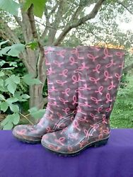 J Crew Outlet Pink Breast Cancer Awareness Ribbon Galoshes Boots Sz 7 ❤️sj17j18