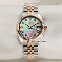 Rolex Midsize Datejust 178271 Stainless Steel And 18k Rose Gold Mother Of Pearl...