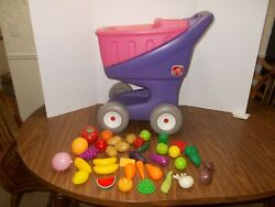 Vintage Step 2 Purple Pink Pretend Play Childs Grocery Shopping Cart +36 Pc Food