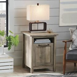 Rustic Gray Modern Farmhouse Side Table With 2 Usb Ports For Cellphone Tablet..