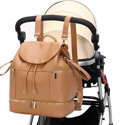 PU Mommy Baby Diaper Bag Backpack Leather Nappy with Chaning Pad Bottle Warmer $24.99