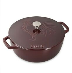 Nib Staub Cast Iron 3.75 Quart French Oven Cocotte - Grenadine With Rooster