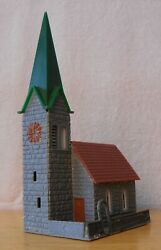 N Scale Building Church Gray Stone Green Steeple Life-like 7410 4a Built Exc