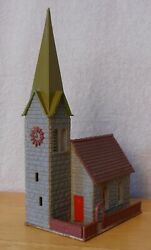 N Scale Building Church Gray Stone Moss-green Steeple Life-like 7410 Built Exc