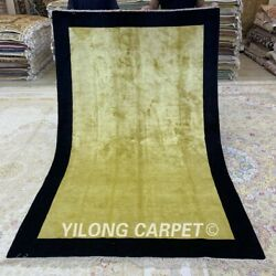 Yilong 5and039x8and039 Yellow Handmade Silk Area Rug Palace Hand Knotted Floor Carpet 147c