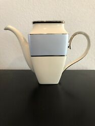 Lenox Ivory Frost Platinum Banded Ivory China Square Coffeepot Missing Lid