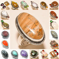 Picture Jasper And Mix Gemstone 925 Sterling Silver Plated 75pcs Lot Rings Gr-n137