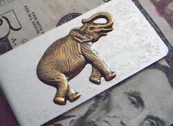 Vintage Style Elephant Menand039s Fabulous Money Clip In Solid 925 Sterling Silver