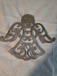 Vintage Silver Plated Angel Trivet Signed Wim 9x7.5 Inches