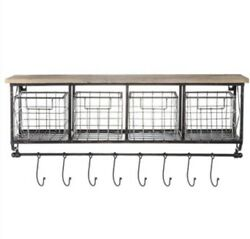 Wall Shelf With Metal Baskets And Hooks Rustic Farmhouse Style Decor