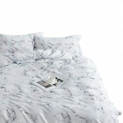 Wake In Cloud - Marble Comforter Set 100 Cotton Fabric With Soft Microfiber Fi