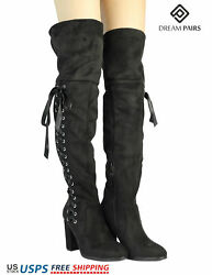 DREAM PAIRS Womens Thigh High Fashion Over The Knee Boots Block Heel Boots $22.49