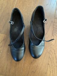 Women's Black Character Shoes w Leather Sole Sz 6M Leather Sole Balance 550
