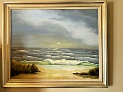 Antique 19th Century Original Seascape Oil Painting Signed G. Gollord