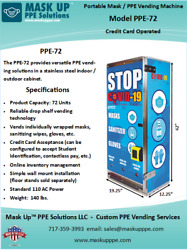 Portable Mask / Ppe-72 Vending Machine Credit Operated