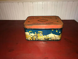 Vintage Supreme Biscuit The Great Animal Show Litho Circus Graphics Hinged Tin