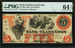 1861 5 Bank Of Clarendon Fayetteville North Carolina Obsolete Pmg 64 Epq P-178
