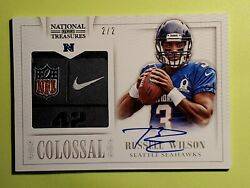 2013 Russell Wilson Auto 2/2 Jerseytag National Treas Colossal Authentication Rw
