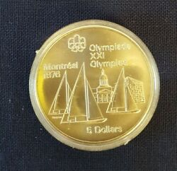 1973 Canada Rcm 1976 Montreal Olympic Games 5 Dollar Silver Coin Sailboats