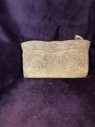 Vintage Pearl Beaded Clutch Evening Bag Purse Made in Japan Zipper Top $13.50
