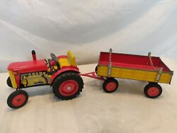 Vintage Tin Wind Up Toy Tractor And Trailer Zetor From Cz Work Well. Nice Piece