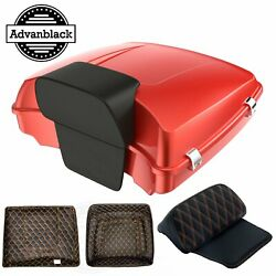 Candy Orange Razor Tour Pack Top Box Trunk Luggage Backrest For 1997-2020 Harley