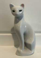 Vintage White Siamese Ceramic Cat Figurine Green Eyes Long Neck 8quot; Tall