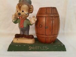 Vintage Metal Piggy Bank And039snifflesand039 W/ Barrel Warners Bros. 1940and039s