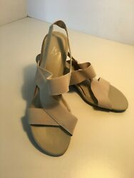 Life Stride Woman's Wedge Sandals Beige Shoes Size 7.5m