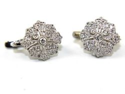 Natural Round Diamond Cluster Ladyand039s Drop Snap Earrings 18k White Gold .65ct