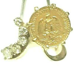 14k Gold 12.8mm Coin Ring And A 22k Mexican Dos Pesos Coin And .50 Tcw Diamonds